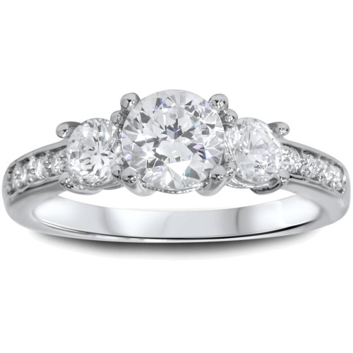 1 1/4ct Three Stone Round Diamond Engagement Ring 14K White Gold (H, SI2)