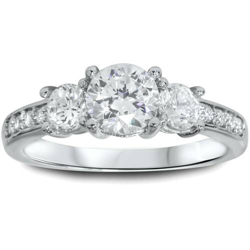 1 1/4ct Three Stone Round Diamond Engagement Ring 14K White Gold (H, SI2)