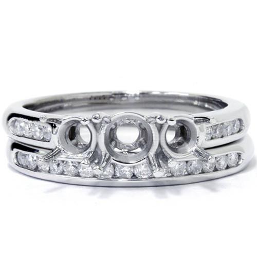 3/8ct Three Stone Engagement Wedding Ring Set 14K White Gold (G/H, I1-I2)