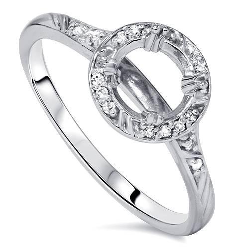 1/8ct Diamond Vintage Engagement Ring Semi Mount 14K White Gold (G/H, I1)