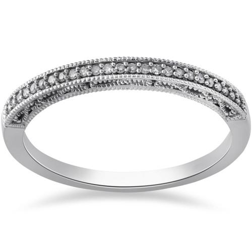 1/10ct Vintage Diamond Wedding Ring 10K White Gold (G/H, I2-I3)