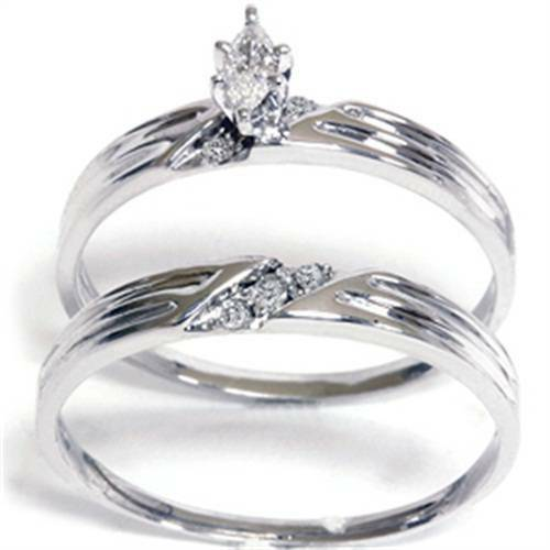 1/4ct Marquise Pave Diamond Ring Set 14K White Gold (G/H, I2)