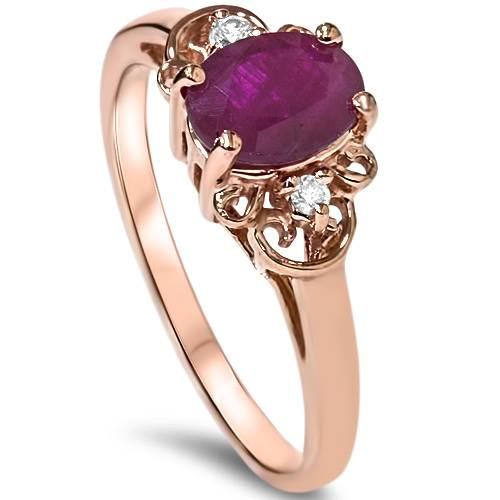 3/4ct Ruby & Diamond Vintage Filigree Ring 14K Rose Gold (G/H, I1-I2)