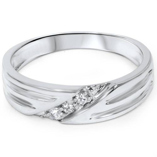 Mens Real Diamond 14k White Gold Wedding Ring Band New (G/H, I2)