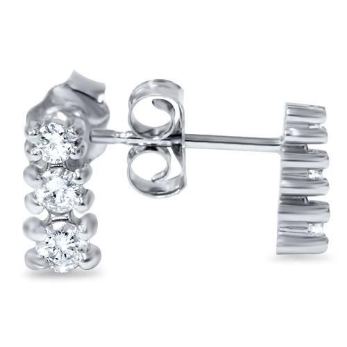 1/4ct Three Stone Diamond Earrings 14K White Gold (G/H, I2)