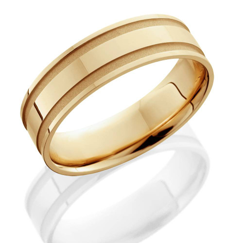14K Yellow Gold Mens Grooved Wedding Band 6mm
