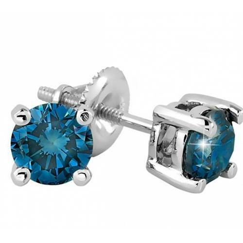 2 1/10ct Blue Diamond Studs 14K White Gold (Blue, VS(1)-VS(2))