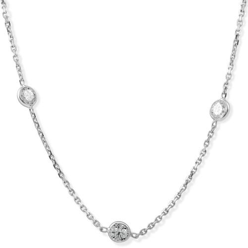 2 TCW Diamond Bezel Station Necklace 14k White Gold (G-H, SI)
