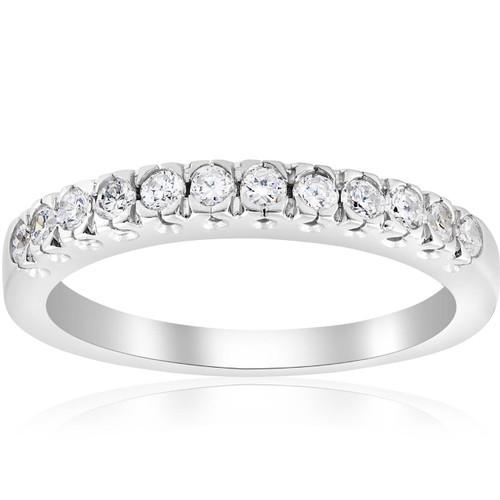 5/8ct Pave Diamond French Prong Set Wedding Ring 14K White Gold (G/H, I1)