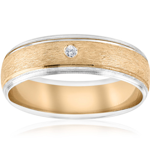 Mens Gold Solitaire Diamond Brushed Wedding Ring Band (G, SI)