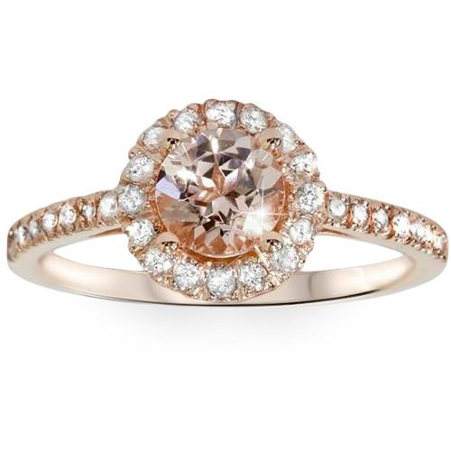 1ct Morganite & Diamond Halo Engagement Ring 14K Rose Gold (G/H, I2)
