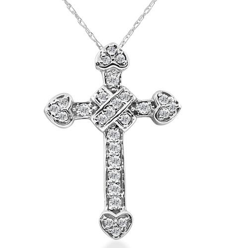1/2ct Fancy Unique Diamond Cross Pendant 14K White Gold (G/H, I2)