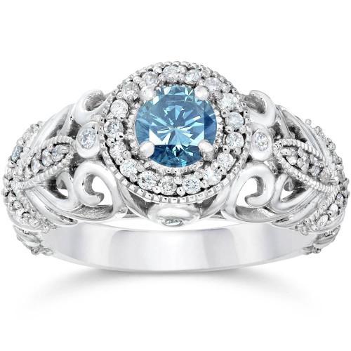 3/4ct Blue & White Diamond Vintage Halo Engagement Ring 14K White Gold (G/H, I1-I2)
