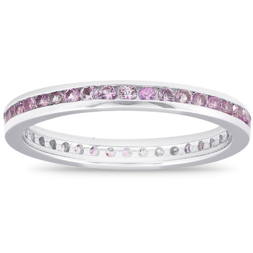 5/8ct Pink Sapphire Stackable Wedding Anniversary Ring 14K White Gold