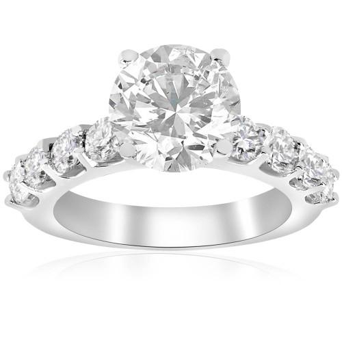 3 carat Enhanced Diamond Engagement Half Eternity Ring 14K White Gold (G/H, I1-I2)