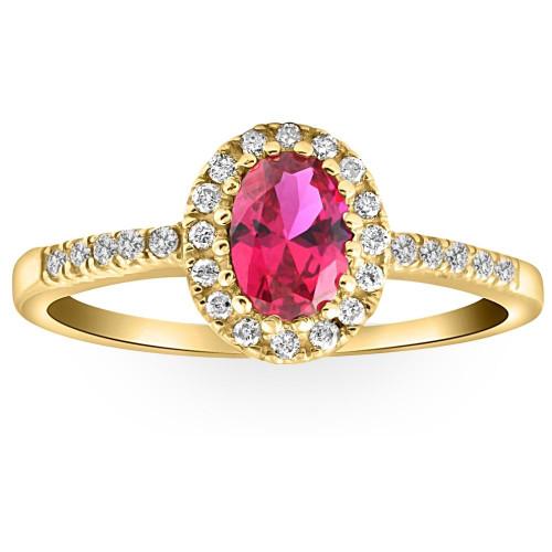 3/4ct Ruby & Diamond Ring 14K Yellow Gold (G/H, I2-I3)