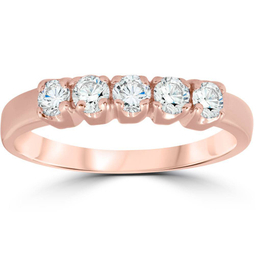 1/2ct 5-Stone Diamond Wedding Ring 14K Rose Gold (G, I1)