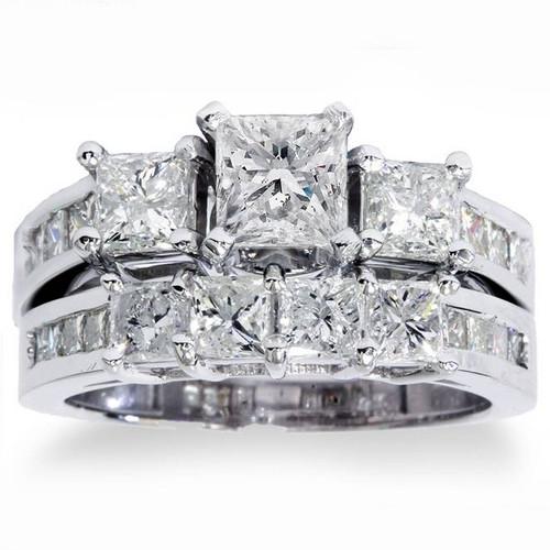 3 1/2ct Princess Cut Diamond Engagement Ring Wedding Set 14K White Gold (G/H, I1)