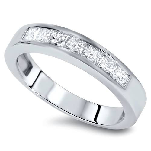 1 Ct Princess Cut Channel Set Diamond Wedding Ring 14K White Gold (G/H, SI2)