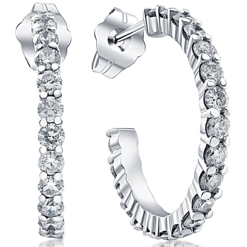 1 1/10ct Diamond Hoops 14K White Gold (G/H, I1)