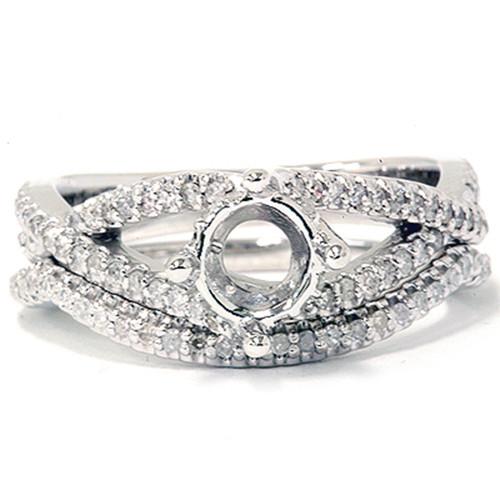 5/8ct Diamond Engagement Wedding Ring Set 14K White Gold (G/H, I2)
