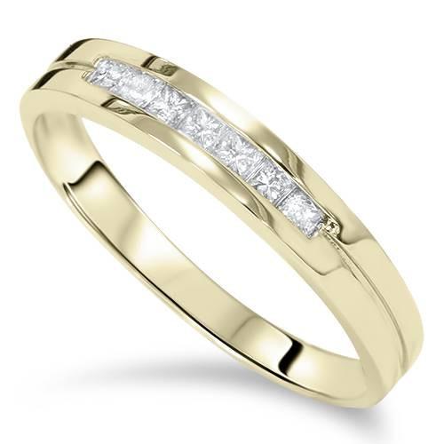 3/8ct Princess Cut Diamond Ring 14K Yellow Gold (H/I, I1)