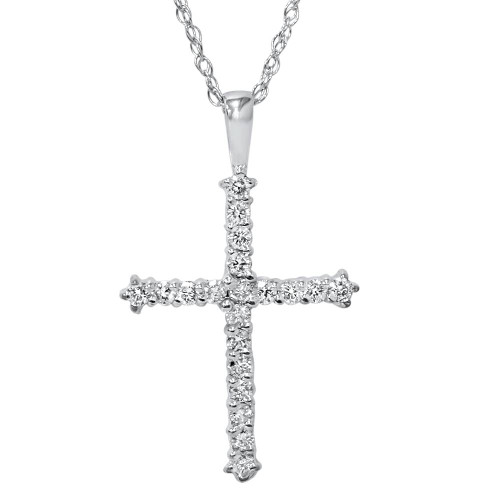 "1/2ct Diamond Cross Pendant 14K White Gold 1"" (G, VS)"