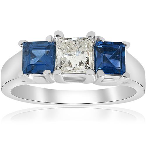 1 1/2ct Princess Cut Diamond & Blue Sapphire 3 Stone Ring 14K White Gold (H/I, I1)