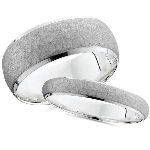 Matching Hammered White Gold His Hers Wedding Band Set