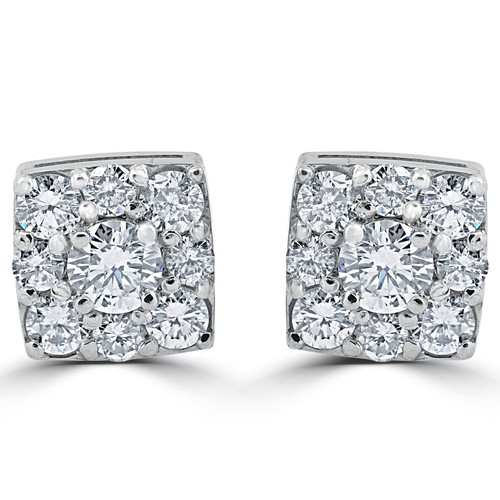1 1/5ct Cushion Halo Round Diamond Studs 14K White Gold 8mm (H, I2)