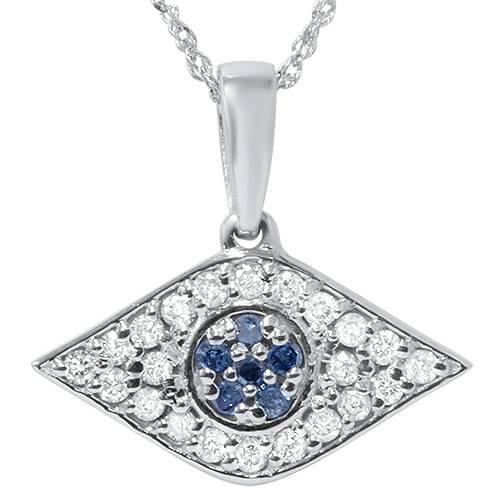 """1/4ct Blue & White Diamond Evil Eye Pendant 14K White Gold W/ 18"""" Chain & Box (G/H, I2)"""