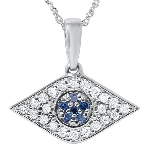 "1/4ct Blue & White Diamond Evil Eye Pendant 14K White Gold W/ 18"" Chain & Box (G/H, I2)"