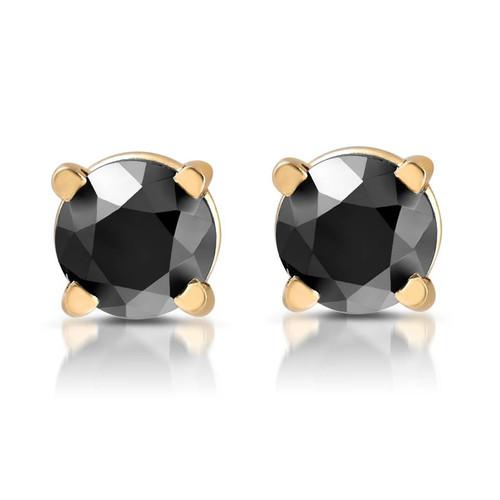Yellow Gold 1/2ct Round Cut Black Diamond Studs (Black, AAA)