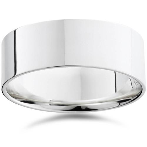 Mens 8mm Flat 950 Platinum Comfort Wedding Ring Band