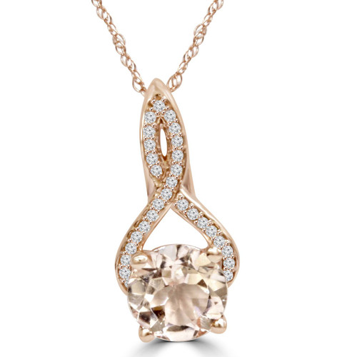 8MM Morganite 1/10 Ct Diamond Vintage Infinity Pendant 14K Rose Gold (K-L,I2-I3) (H-I, I1-I2)