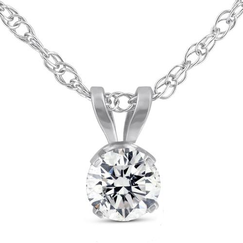 1/5ct Round Diamond Solitaire Pendant Necklace 14K White Gold (I-J, I2-I3)