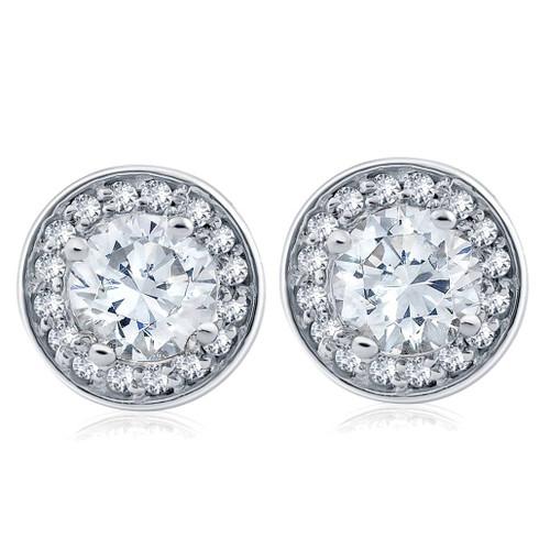 1 cttw Halo Diamond Studs 14k White Gold (G/H, I1)