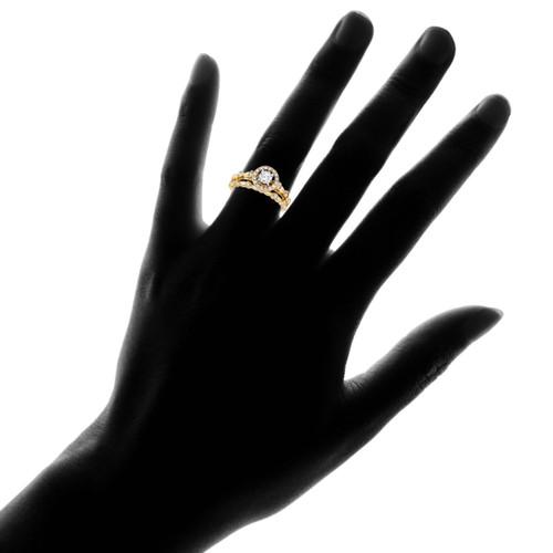 1/2 cttw Halo Diamond Engagement Wedding Ring Set 14K Yellow Gold (H/I, I1)