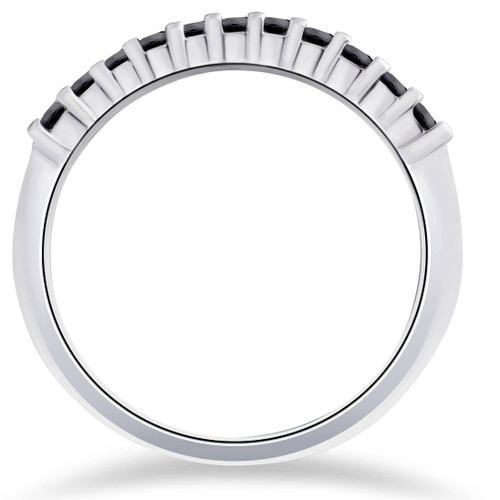14K White Gold 1/4ct Treated Black Diamond Wedding Anniversary Guard Ring (Black, AAA)