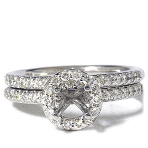 1/2ct Diamond Halo Mount Engagement Matching Wedding Ring Setting 14k White Gold (G, VS)