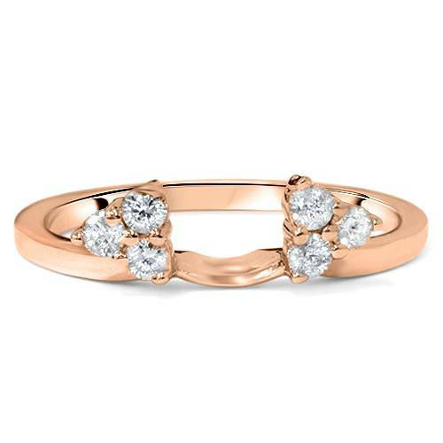 1/4ct Diamond Guard Ring Enhancer Wedding Band 14K Rose Gold (G/H, I1-I2)