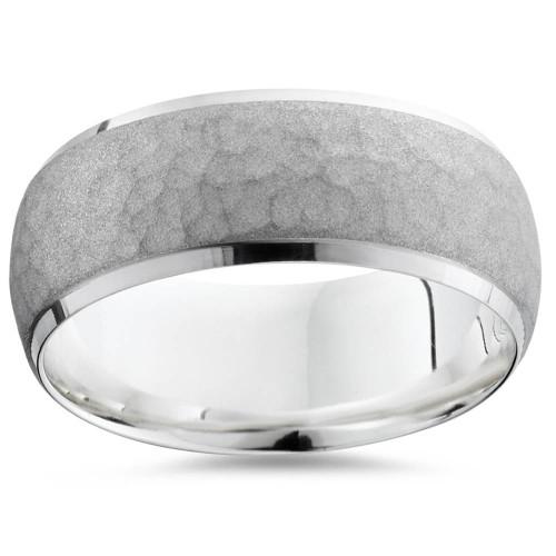 Mens Hammered 14k White Gold Wedding Band Ring 7mm