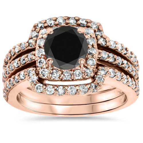 1 3/4ct Black Diamond Rose Gold Cushion Halo Ring Set 14K (G/H, I2)