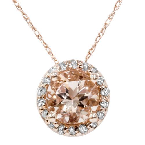 1 7/8ct Morganite & Diamond Halo Pendant 14K Rose Gold (G/H, I2-I3)