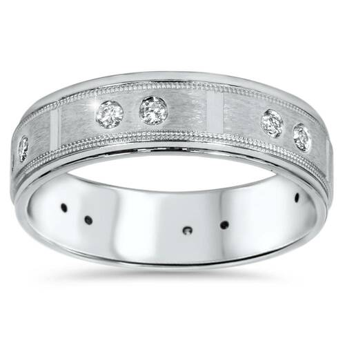 1/4ct Mens Diamond 6mm Wedding Ring 14K White Gold (H/I, SI2)