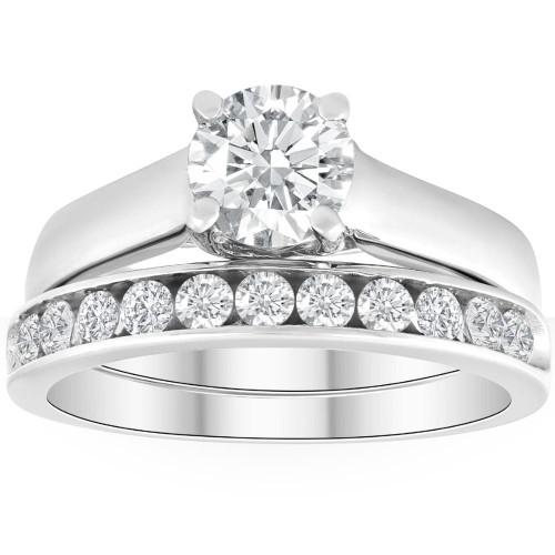 1 1/2ct Solitaire Round Enhanced Diamond Engagement Ring Set 14K White Gold (H, I2)
