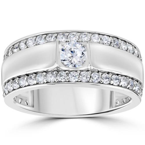 1 3/4 CT Mens Diamond Wedding Ring 10K White Gold (H/I, I1-I2)