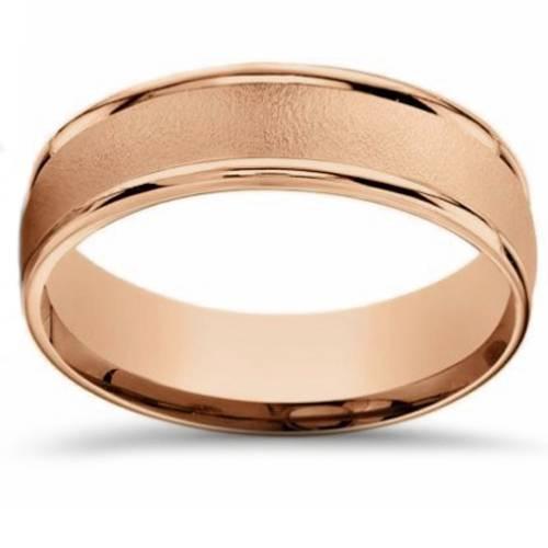 6mm Brushed Round Polished Edge 14k Rose Gold Wedding Band