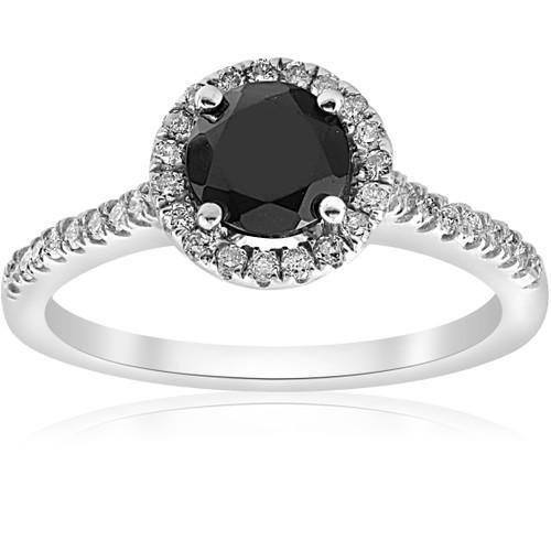 1 1/3 ct Black & White Halo Diamond Engagement Ring 14k White Gold (G/H, I2)