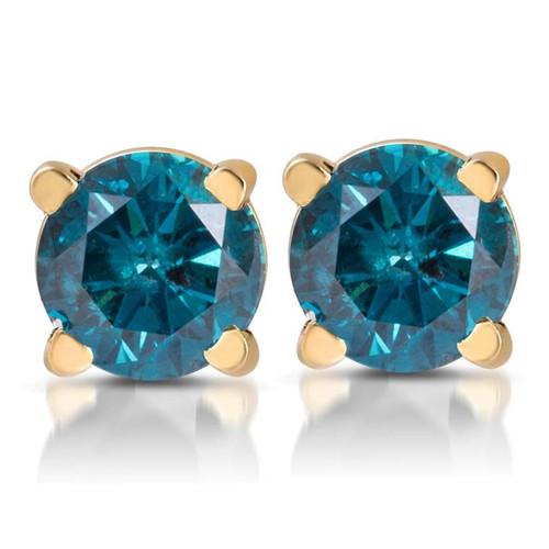 1/3ct Blue Diamond Studs 14 Karat Yellow Gold (Blue, I1)